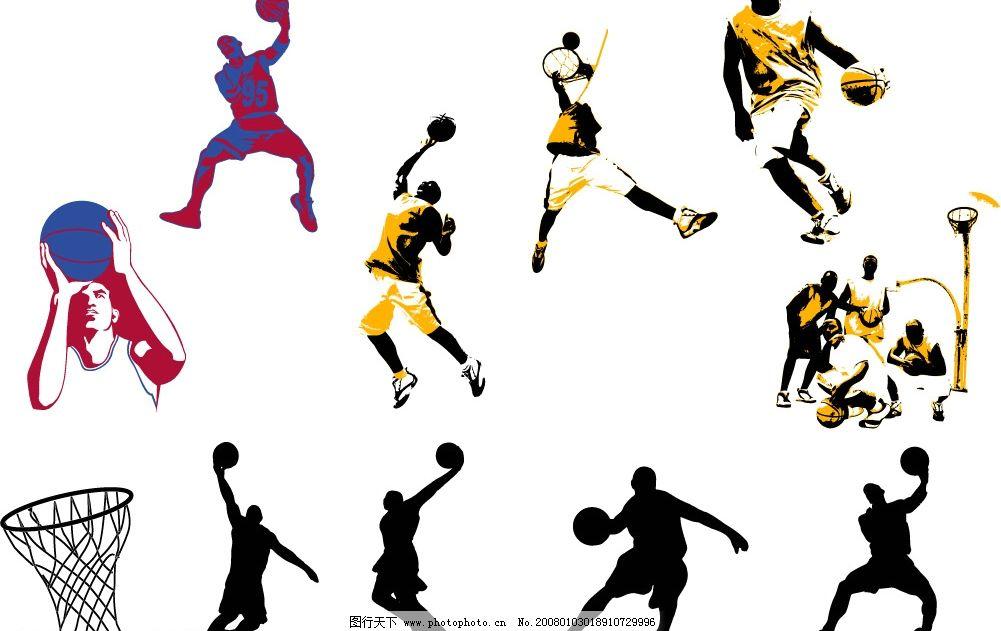 篮球主题矢量素材 矢量 篮球运动 人物 文化艺术 体育运动 矢量图库