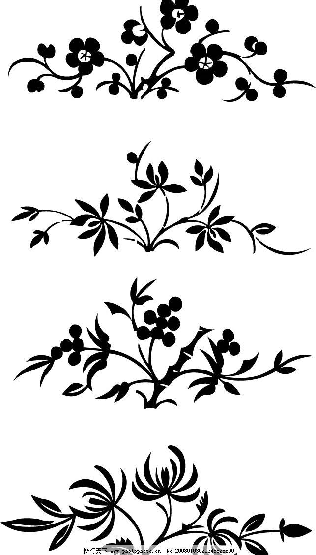 花卉黑白图案 花卉 图案 剪纸 花纹 底纹边框 花纹花边 矢量图库   ai
