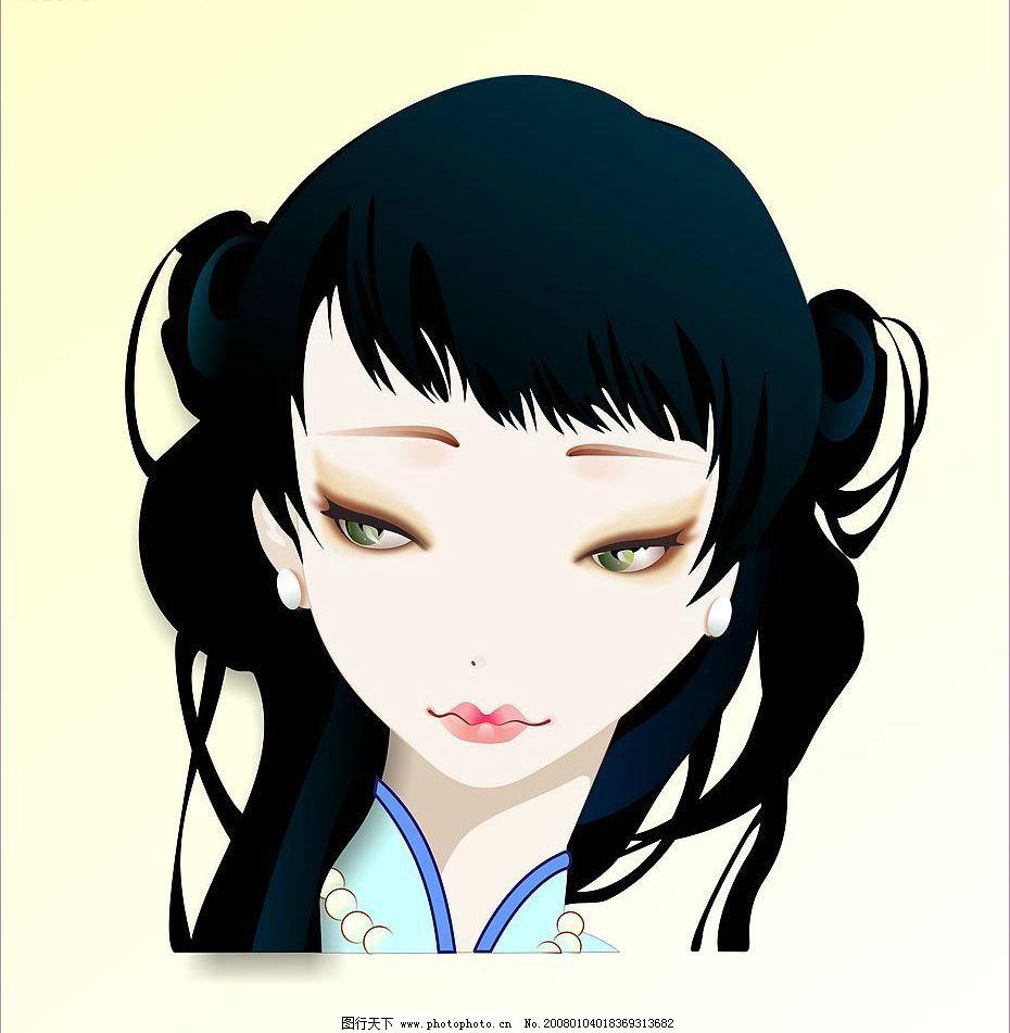 古代美女 中国传统 矢量 美女      动漫动画 动漫人物 卡通动漫 设计