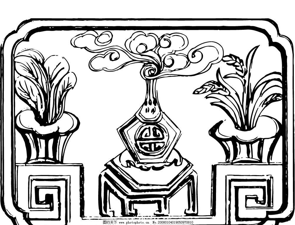 矢量美术绘画素材 花纹 边框 凳子 文化艺术 美术绘画 矢量图库   ai