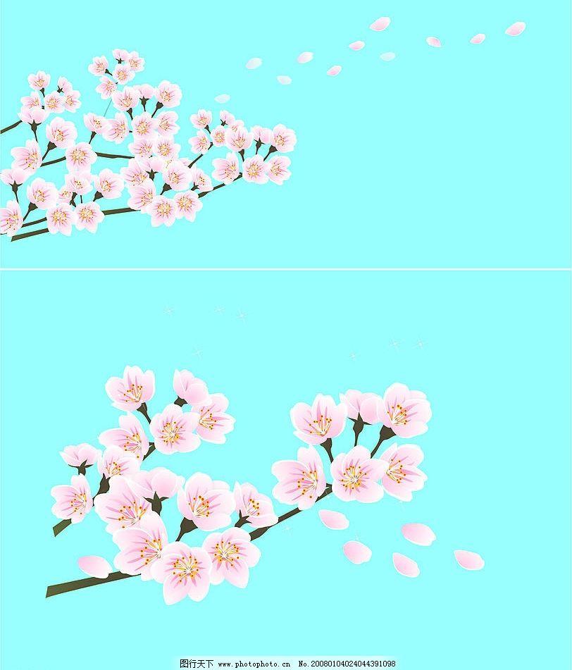 桃花 矢量图图片