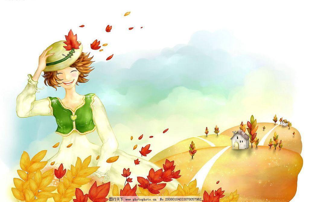 秋天的女孩 卡通 韩国风格 手绘 女孩 红叶 秋天 风景 psd psd素材