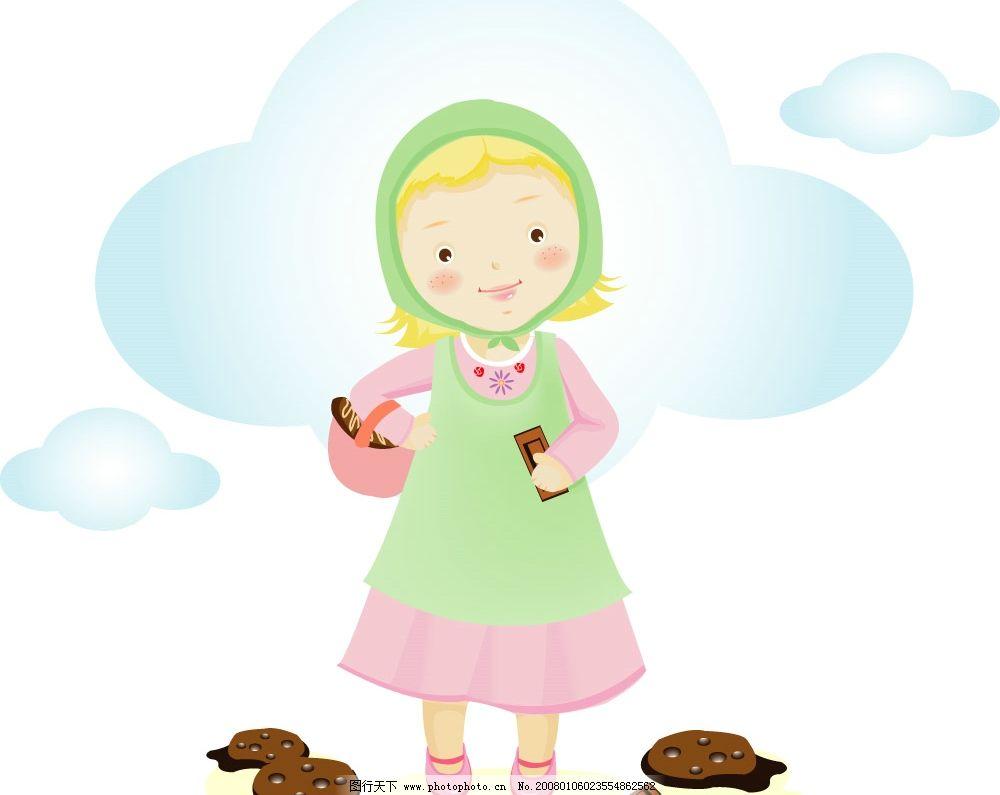巧克力饼女孩 韩国 可爱 小孩 矢量人物 韩国可爱小孩 矢量图库