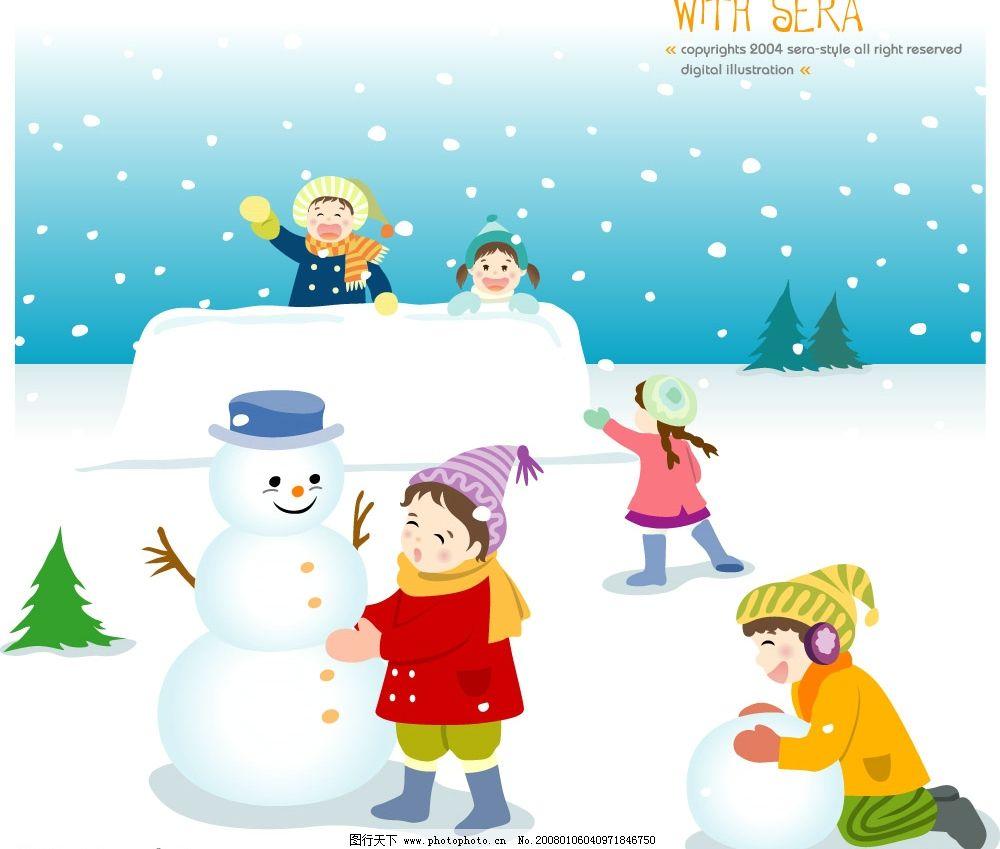 儿童矢量素材 可爱的小孩堆雪人 矢量人物 儿童幼儿 矢量图库   ai