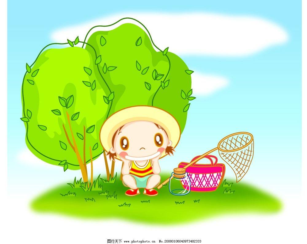小孩植树 可爱卡通素材植树 矢量人物 儿童幼儿 儿童矢量图 矢量图库