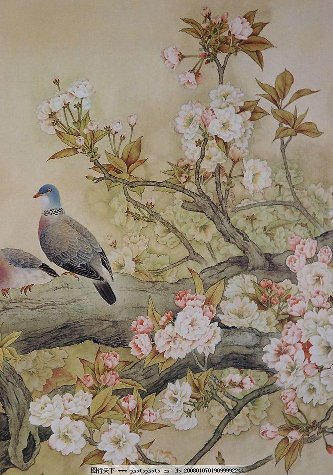 芙蓉花 鸳鸯 树干 芙蓉花 古典 中国画 文化艺术 绘画书法 古典背景