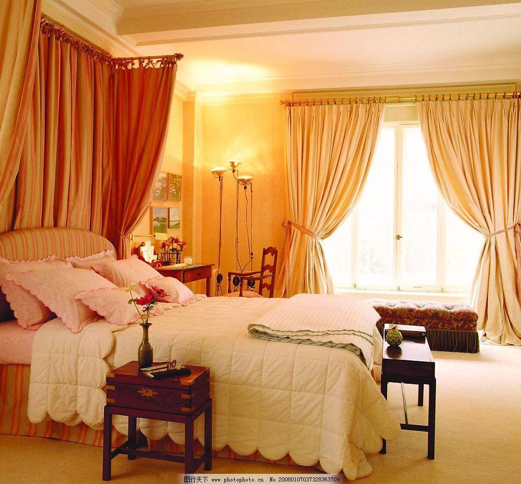 黄色家居图片,床 窗帘 卧室 生活百科 家居生活 摄影