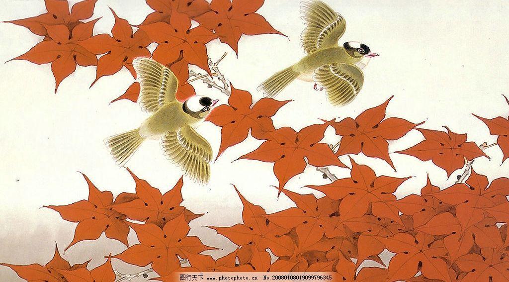 手绘花鸟 手绘 绘画 花 鸟 花鸟 图画 素材 树叶 叶子 红叶 枫叶 文化