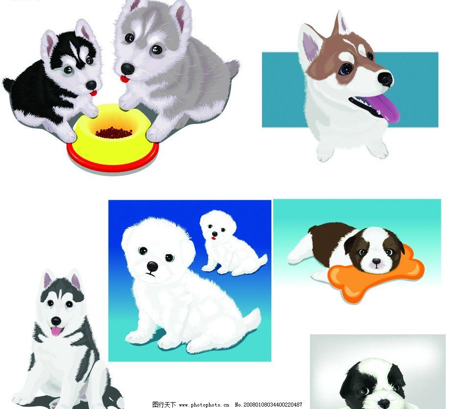 可爱动物卡通 狗图片_山水风景