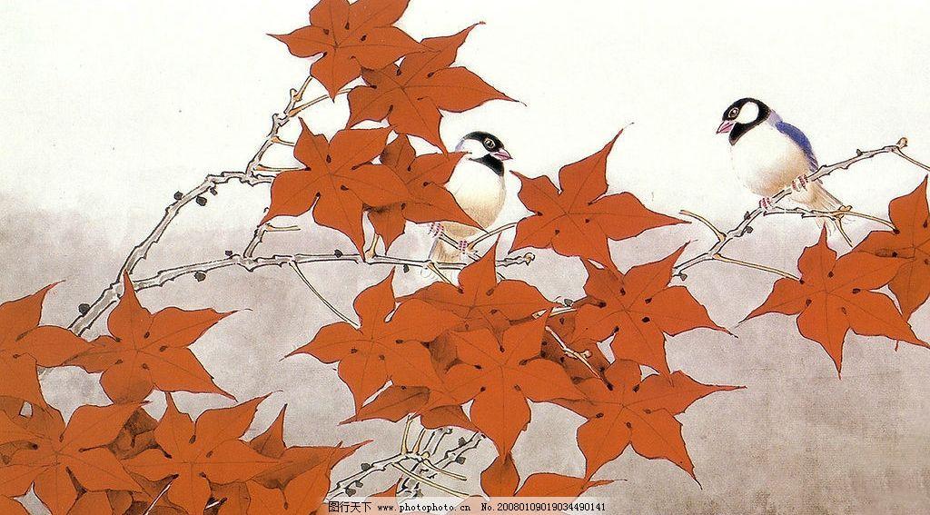 手绘花鸟 手绘 绘画 花 鸟 花鸟 图画 素材 红叶 树叶 叶子 文化艺术