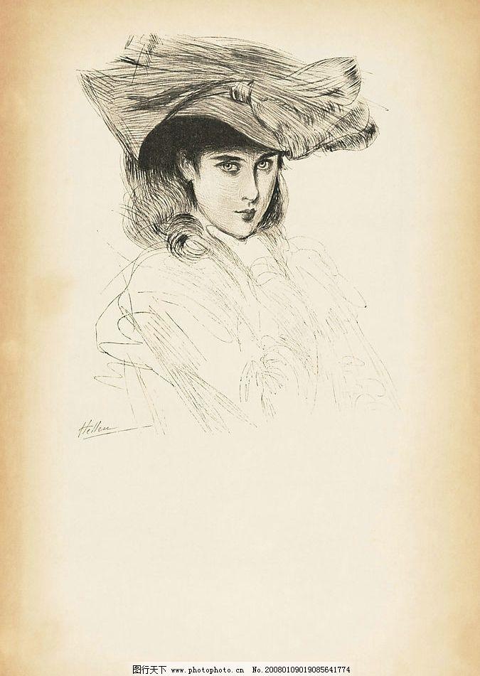 黑白画贵妇人图片