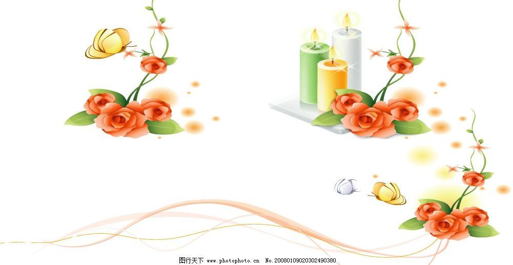 2008最新潮流矢量花纹 花纹 蜡烛 英文 线条 底纹边框 花纹花边 矢量
