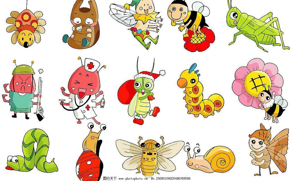 可爱昆虫卡通 蝉 螳螂 蜜蜂 蜗牛图片