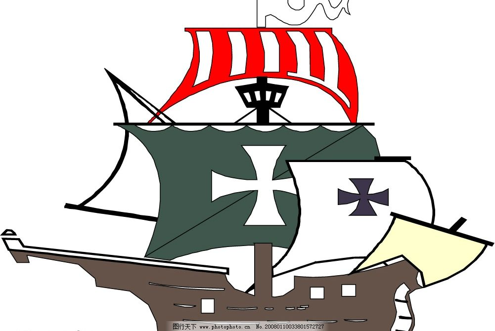 海盗船卡通图片