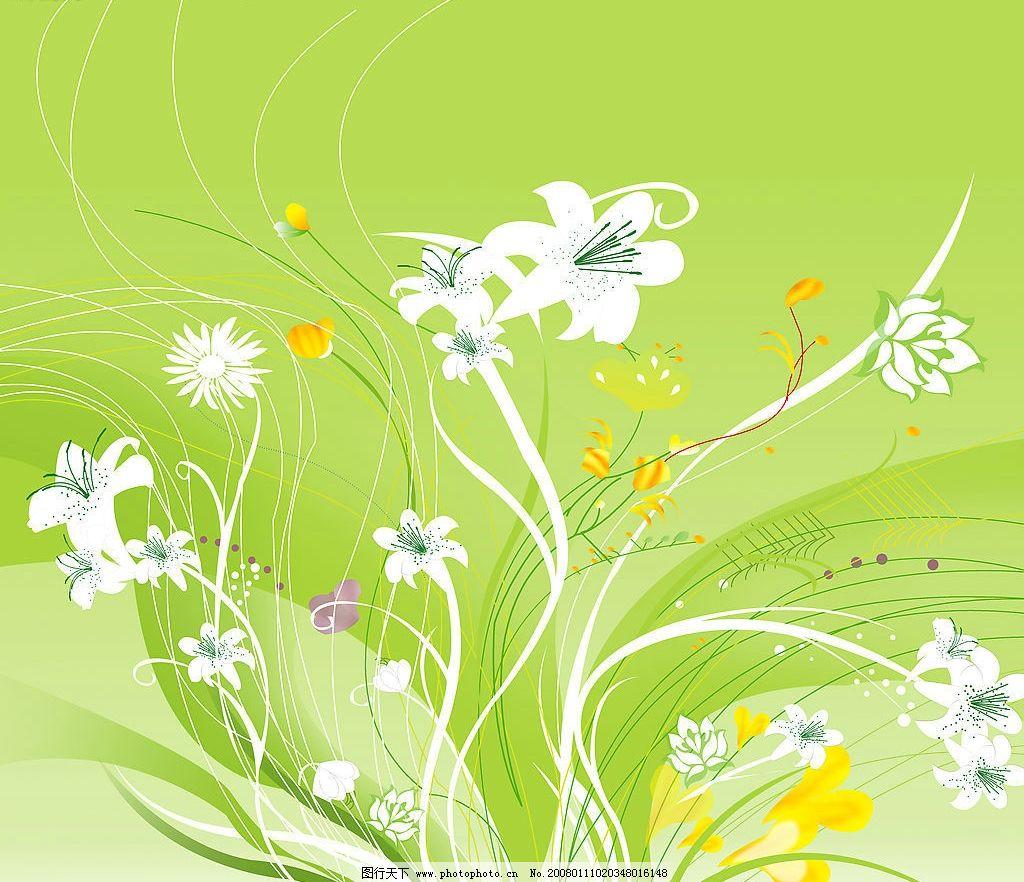 绿色心情 花 花纹 底纹边框