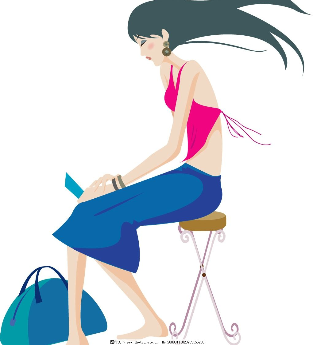浪漫少女 旅行途中 矢量人物 妇女女性 现代女性 矢量图库   ai