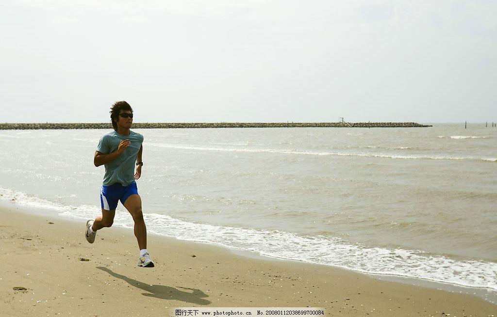 跑步训练 运动员跑步 海边沙滩 文化艺术 体育运动 摄影图库 摄影素材