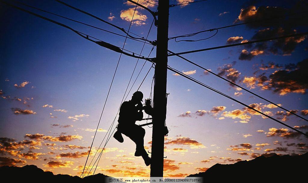 电工剪影 电工 电线杆 电线 修理 其他 图片素材 剪影 摄影图库 300 j