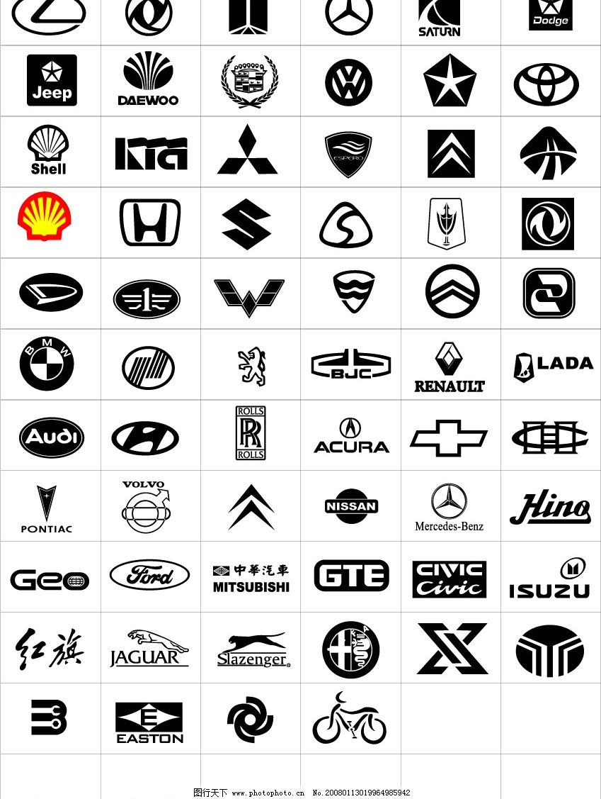 各汽车标志 标识标志图标 企业logo标志 矢量图库   cdr