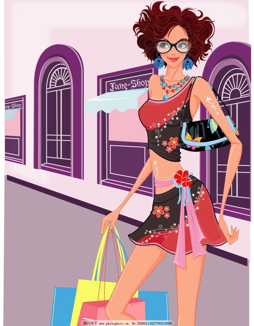 购物中的女人 购物 女性 时尚 休闲 矢量人物 妇女女性 购物女人 矢量
