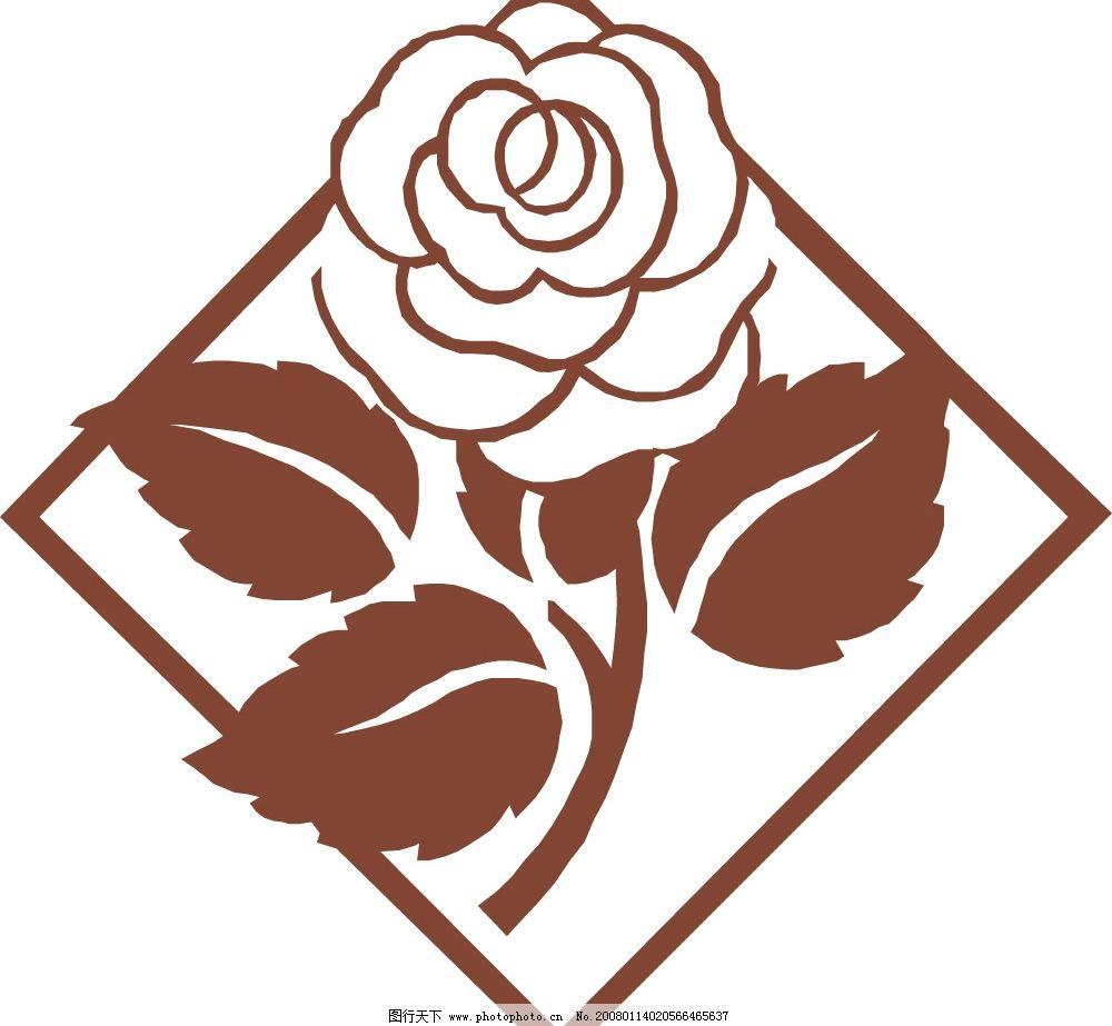 玫瑰花 传统底纹 底纹边框 条纹线条 花の语 矢量图库   eps