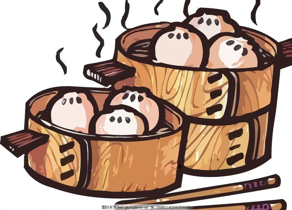 pop食物素材 包子 蒸笼 筷子 其他矢量 矢量素材 矢量图库