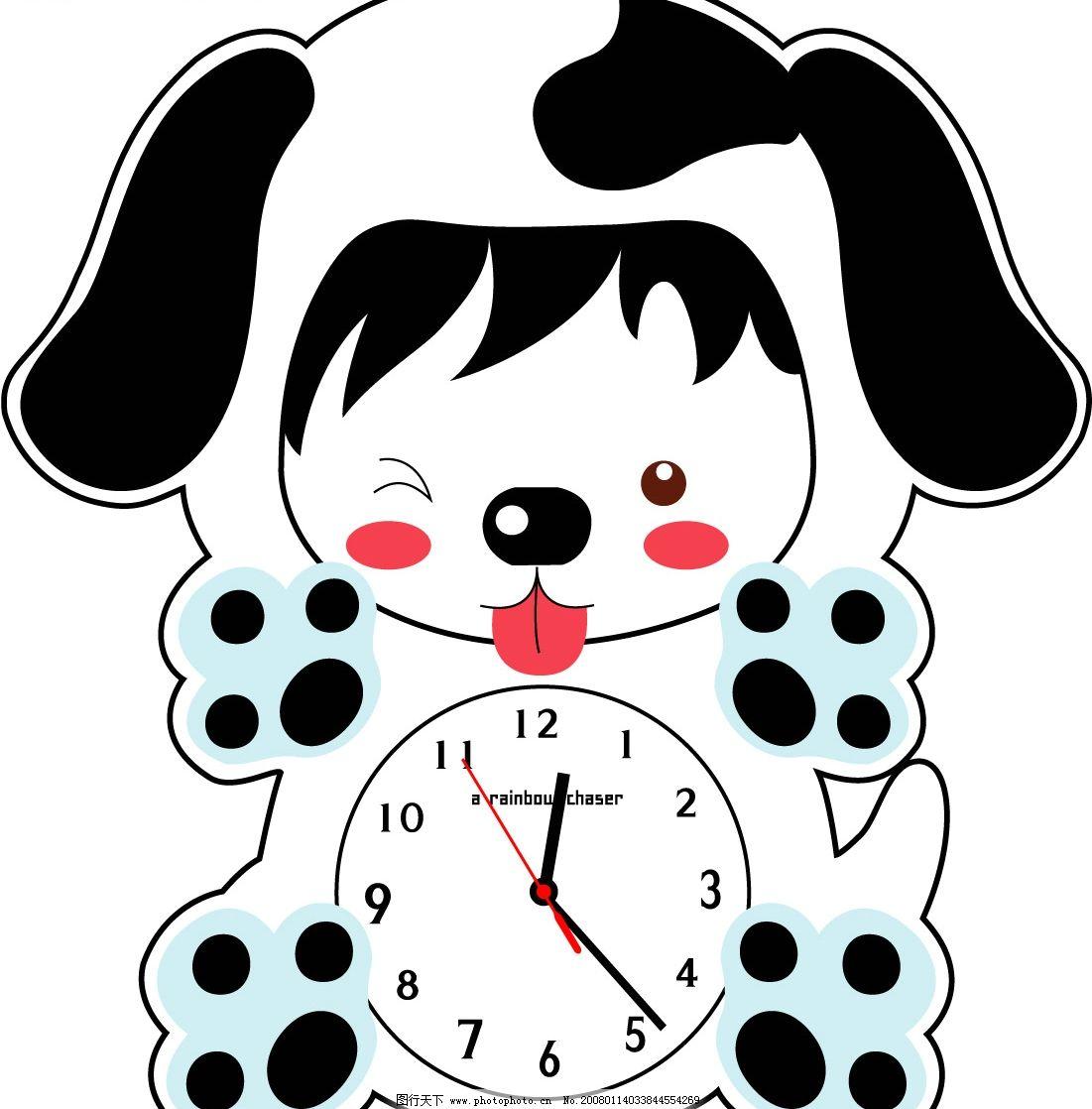 卡通时钟 矢量图形 小狗 其他矢量 矢量素材 矢量图库
