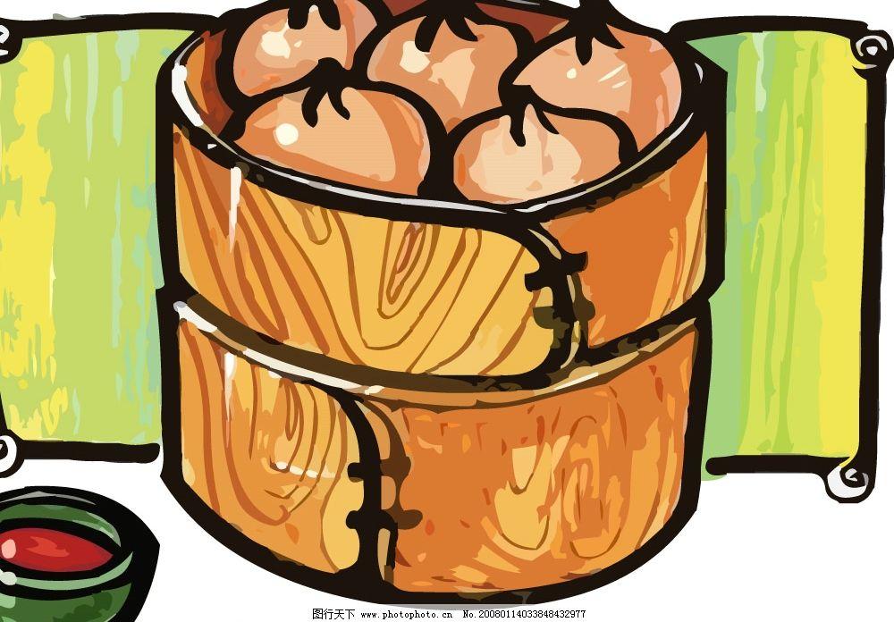pop食物素材 包子 蒸笼 调料 其他矢量 矢量素材 矢量图库