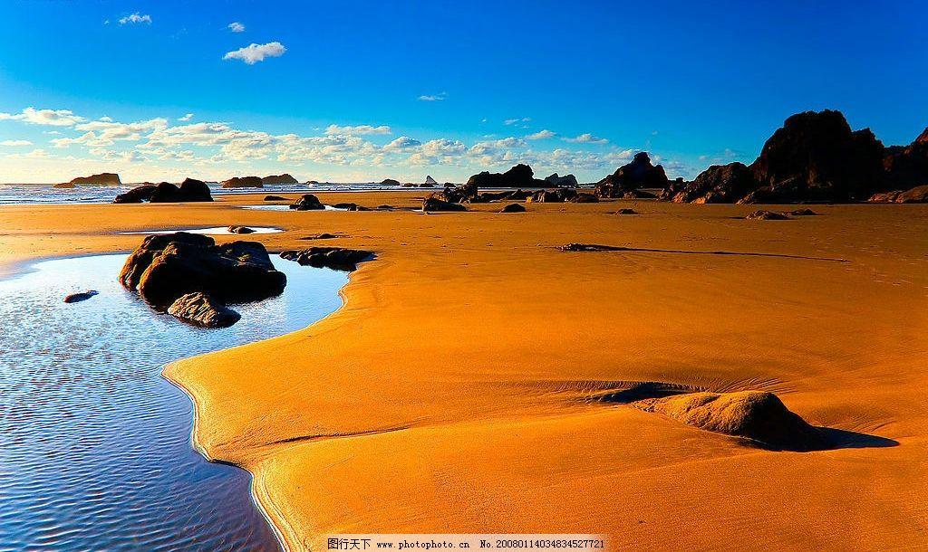 风景素材 自然景观 自然风景 海边沙滩 海边夕阳 落日沙滩 黄金沙滩