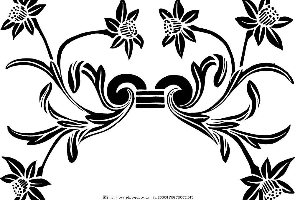 黑白矢量花纹图片