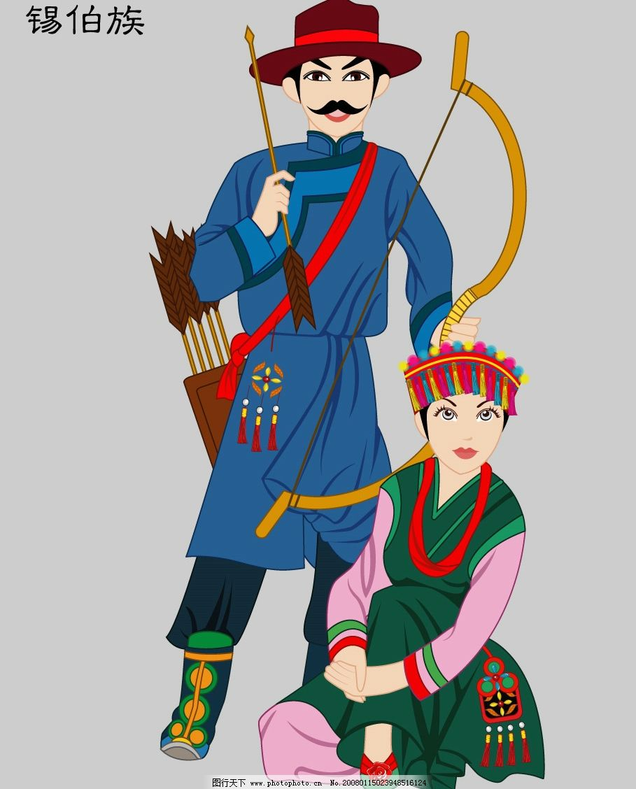 锡伯族 五十六个民族 民族服饰 民族矢量图 矢量人物 其他人物