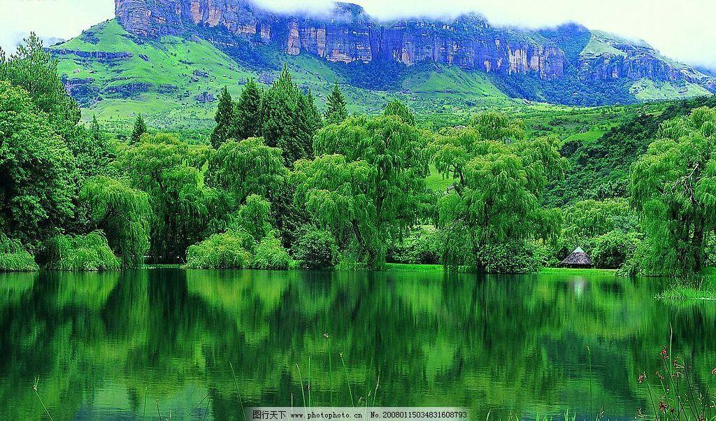 水边的树 山 树的倒影 风景 摄影图库