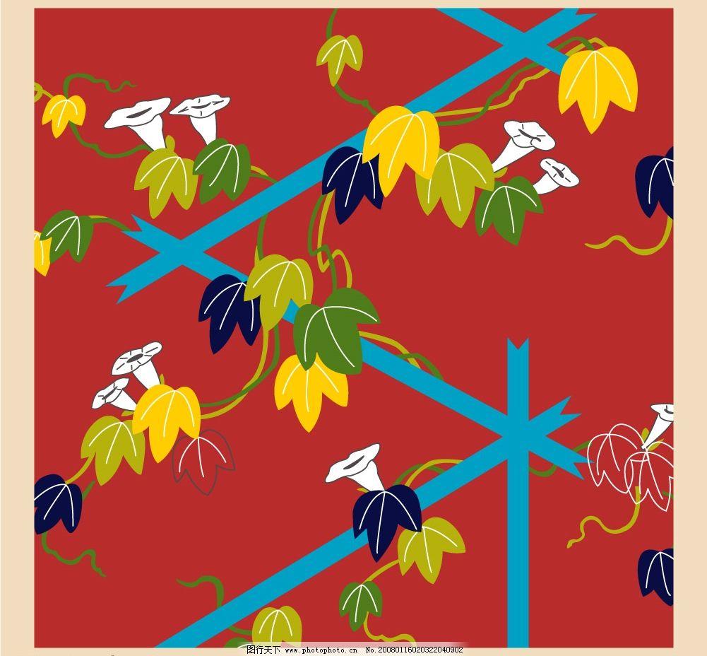 篱笆上的牵牛花 牵牛花 篱笆 底纹边框 花纹花边 美丽花纹 矢量图库