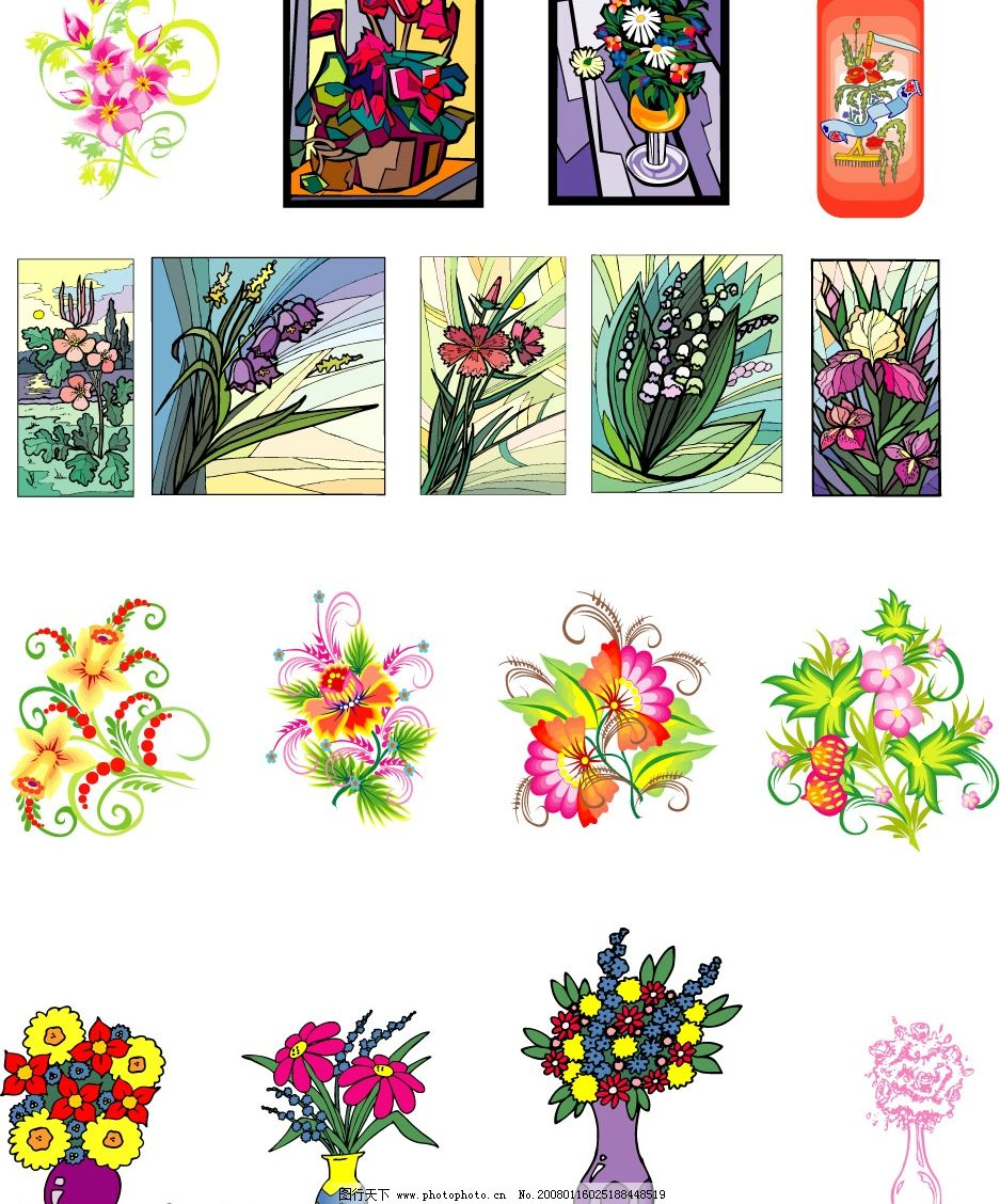 花卉组合图片,花瓶 矢量图库-图行天下图库