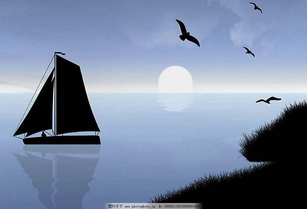 帆船 壁纸 海鸥 大海 太阳 日出 小船 电脑壁纸 桌面壁纸 壁纸设计