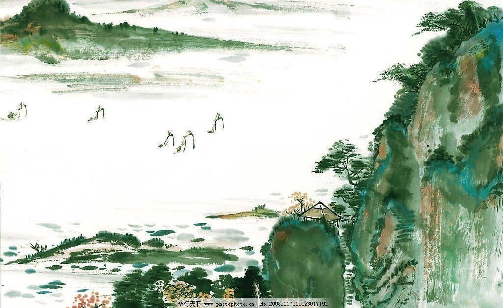 山水画 山 水 帆船 山路 亭子 装饰画 文化艺术 绘画书法 国画系列