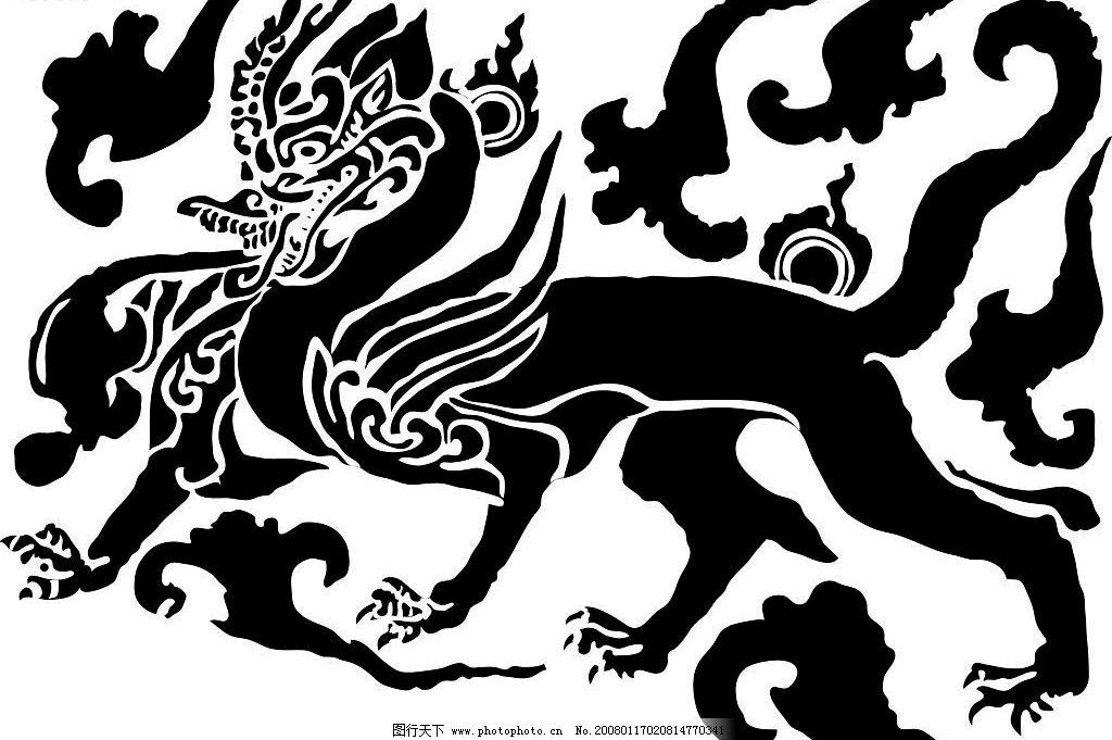 瑞兽 图腾,瑞兽,麒麟,古典 底纹边框 其他素材 设计图库 72 jpg