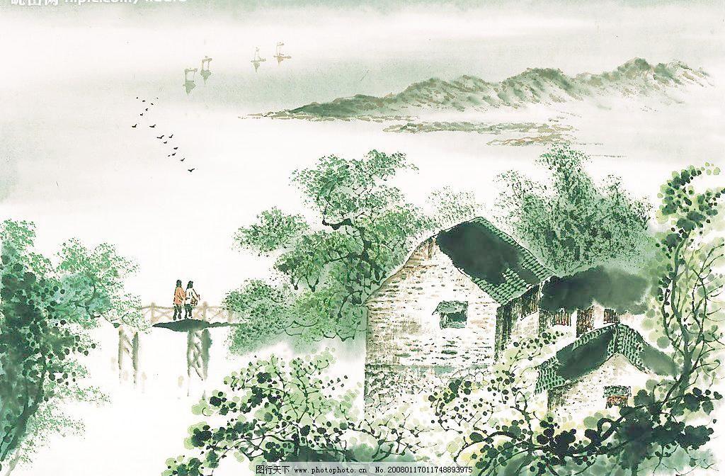 风景画模板下载 风景画 山水画 山 水 帆船 房子 房屋 桥 小桥 人家