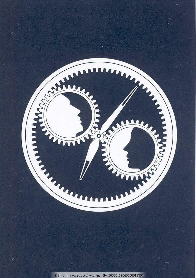 剪影 齿轮 黑白 人像 创意 男女 时钟 图片素材 剪影图酷 摄影图库
