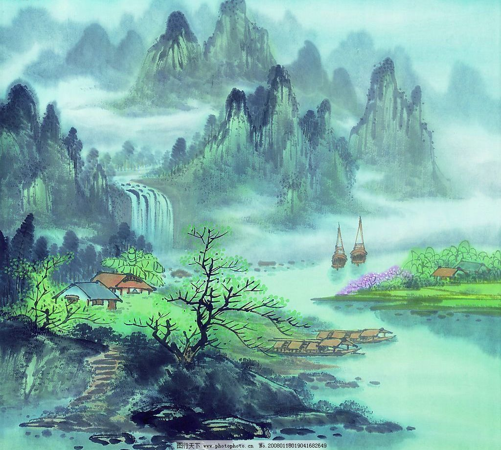 国画素材 古代 山水画 古图 文化艺术 美术绘画 摄影图库