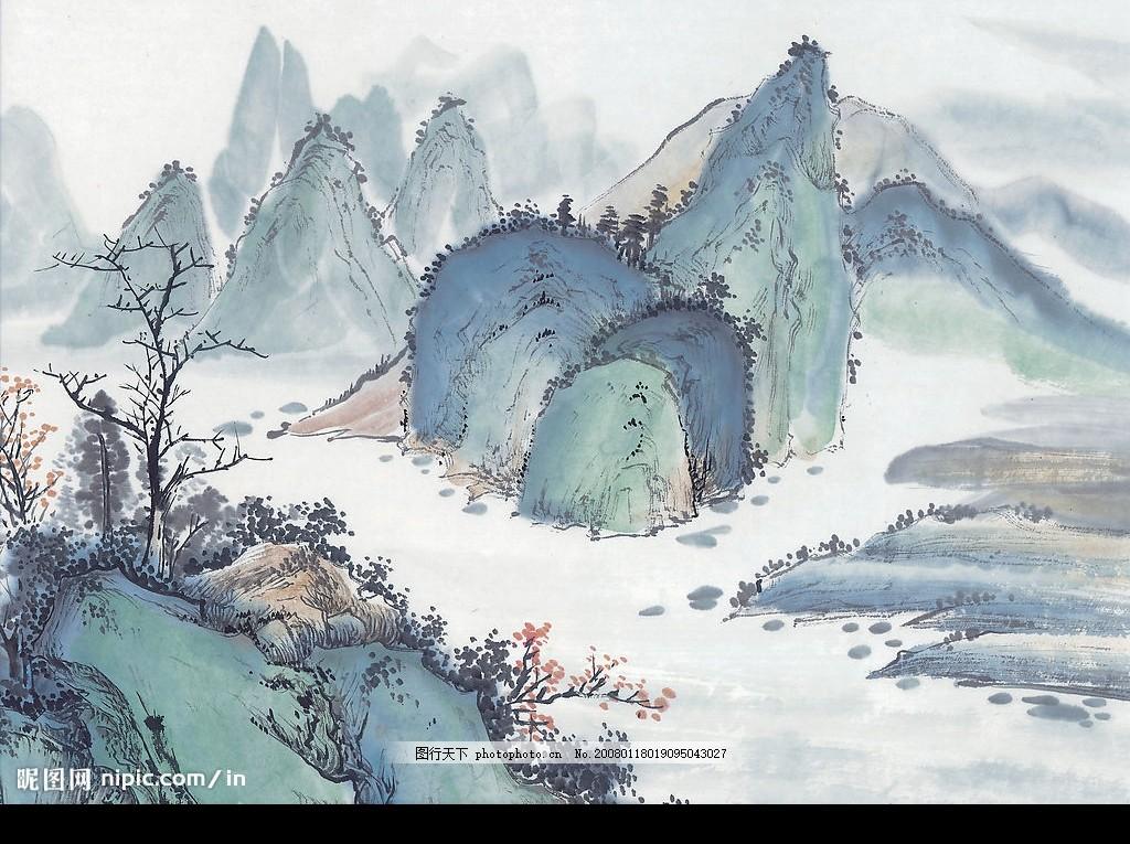 高清印刷用山水画 古画 水墨画 写意景 水彩图片