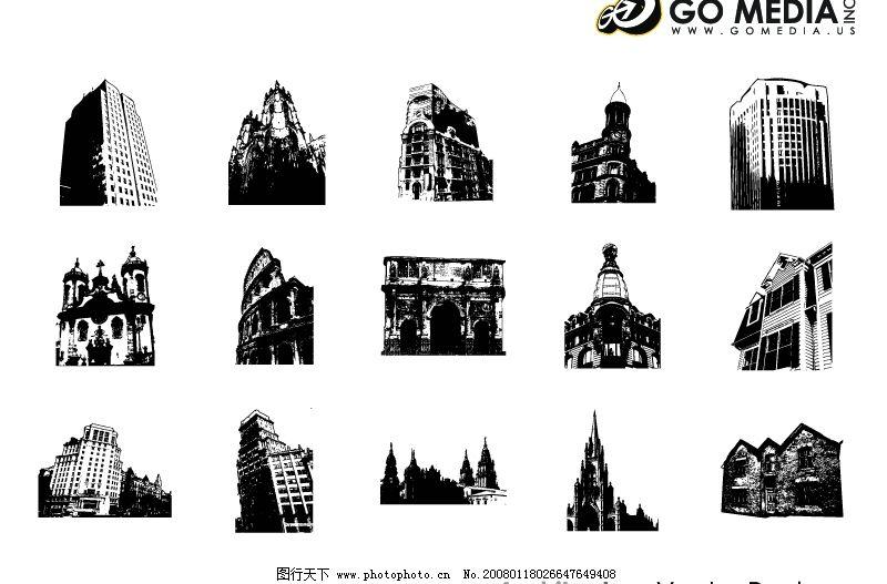 出品矢量素材-欧式古建筑图片
