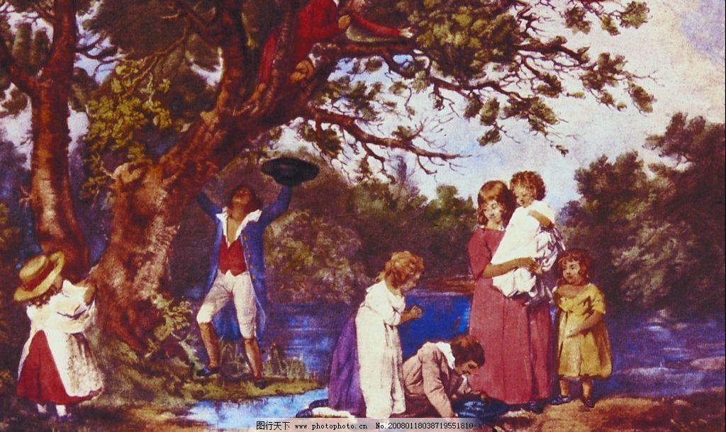 欧美画风 树湖小孩男青年 文化艺术 美术绘画 摄影图库 72 jpg