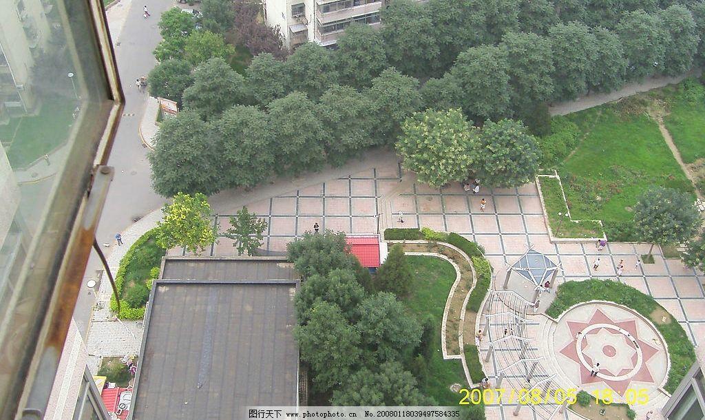 小区小花园俯视图 绿化