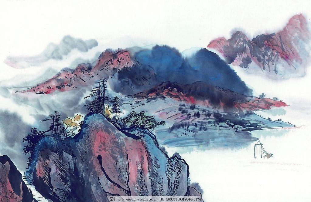 国画素材 国画 素材 古图 山水 山水画 风景 文化艺术 美术绘画 摄影