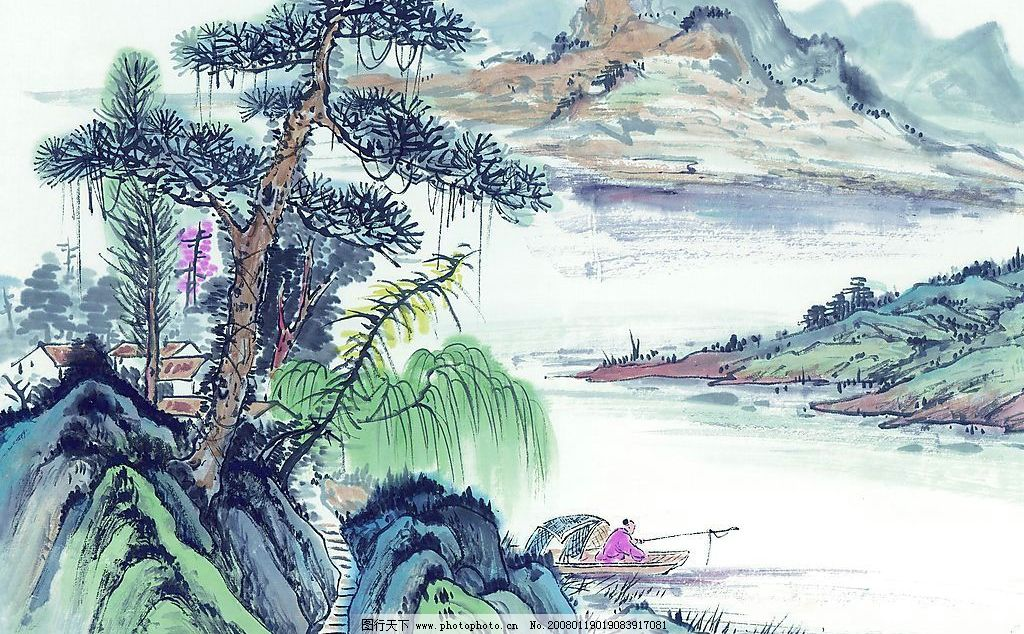 国画素材 古图 山水 山水画 风景 文化艺术 美术绘画 摄影图库