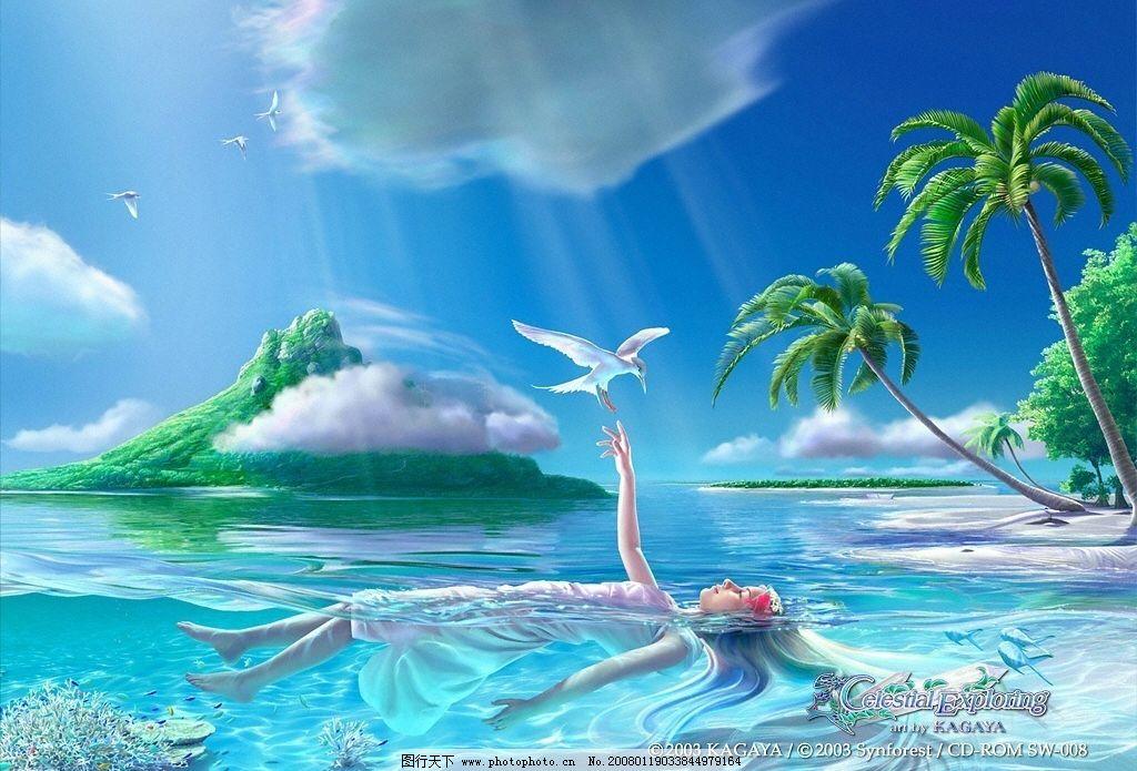 壁纸 少女 飞鸟 海水 水草 椰树 树林 海岛 倒影 蓝天 碧水 白云 阳光