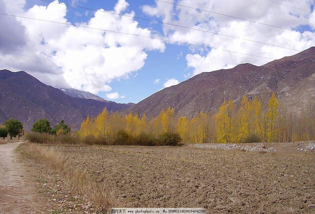 西藏拍摄实景 西藏 天空 白云 树 山 地 旅游摄影 自然风景 摄影图库