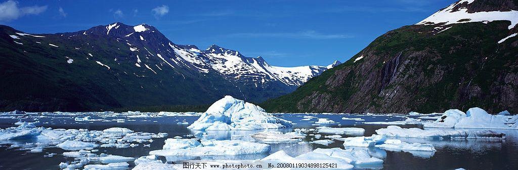 条幅风景 蓝天 雪山 冰河 自然景观 自然风景 摄影图库