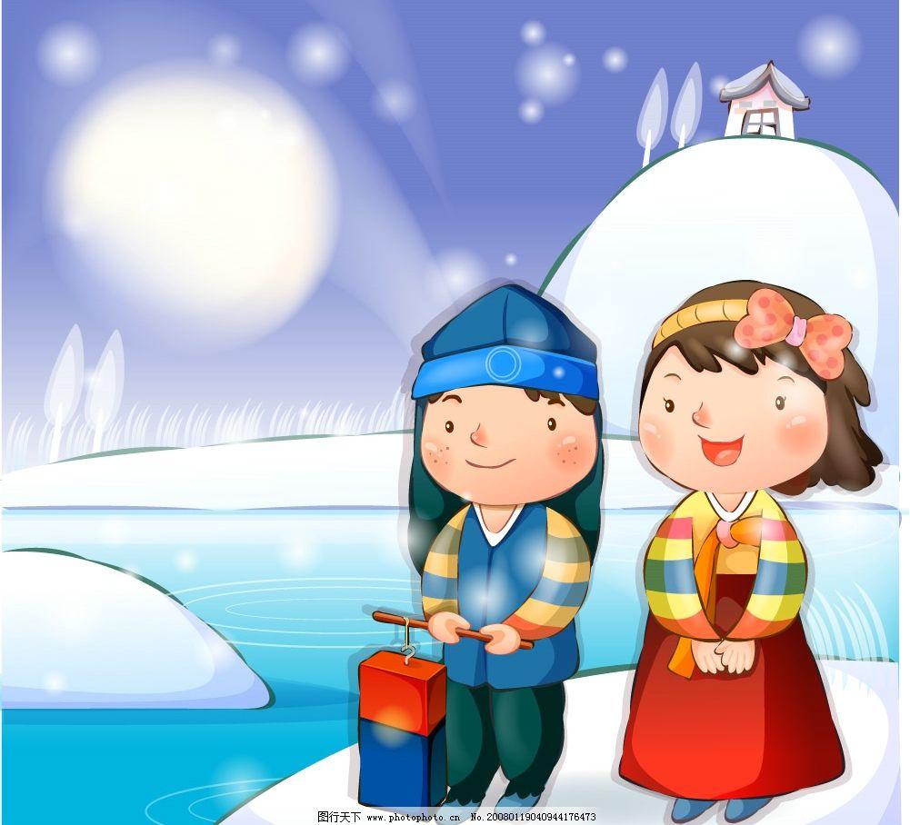 韩国卡通女孩 动漫 漫画 矢量素材 矢量人物 儿童幼儿 韩国卡通儿童